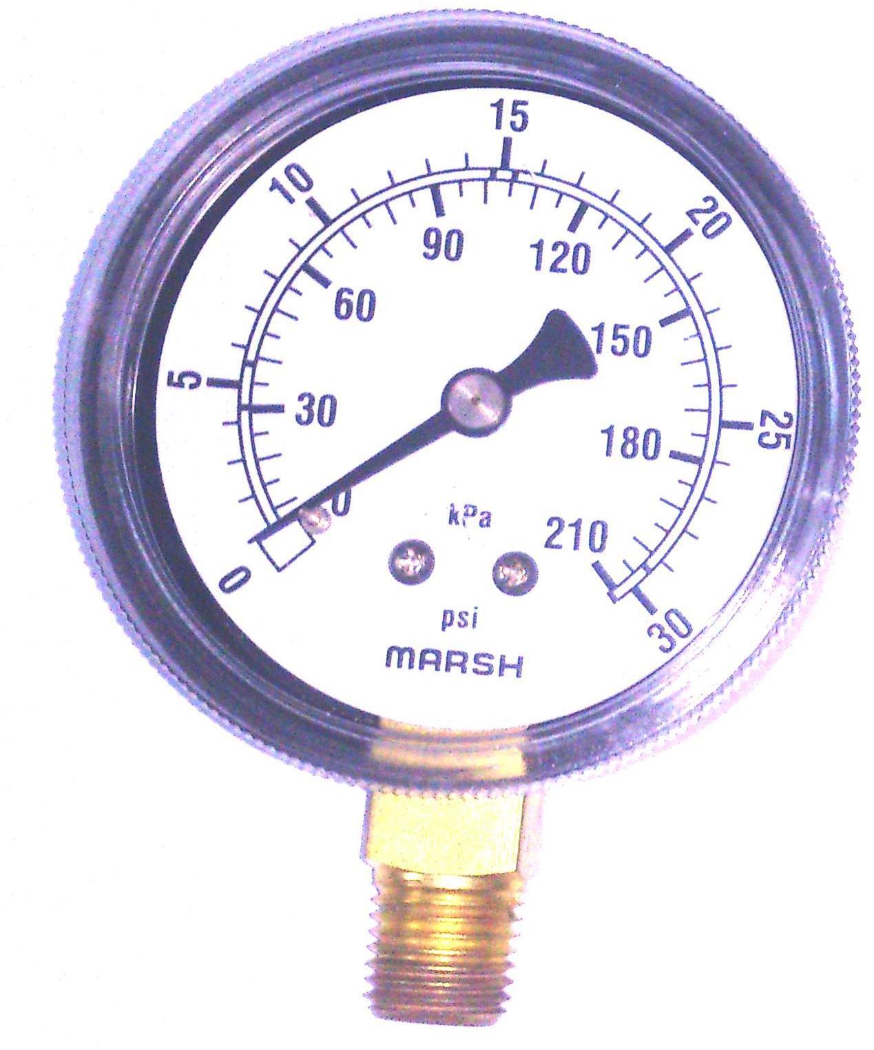 """Acero 1//4/"""" NPT inferior MNT 0-30PSI Utilidad de 2-1//2/"""" calibrador de presión-negro"""